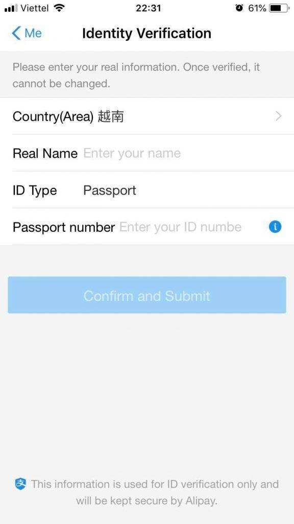 điền thông tin cá nhân xác thực Alipay